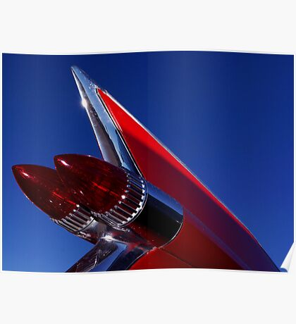 Red Cadillac Fin Poster