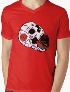 Rose Skull Mens V-Neck T-Shirt