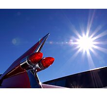 Red Cadillac Fin and Solar Flare Photographic Print