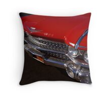 Red Cadillac Grill Throw Pillow