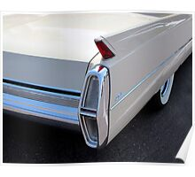 White Cadillac Fin Poster