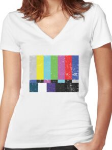 TV test Lines (Half t-shirt 02) Women's Fitted V-Neck T-Shirt