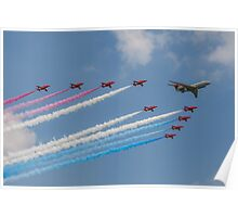A 5 Sqn Sentinel leads the Red Arrows Poster