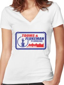 Tooms and Flukeman Plumbing Women's Fitted V-Neck T-Shirt