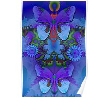 Butterflies in a Blue and Purple world Poster