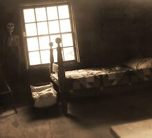 Creepy Abandoned Haunted Cabin Bedroom by Emily Heatherly