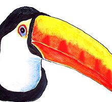 Toucan Wildlife Bird Portrait Acrylic Painting by Rick Short