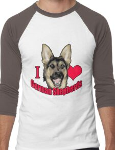 I Hart German Shepherds Men's Baseball ¾ T-Shirt