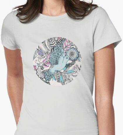 Flight of Fancy – pink, teal, cream Womens Fitted T-Shirt