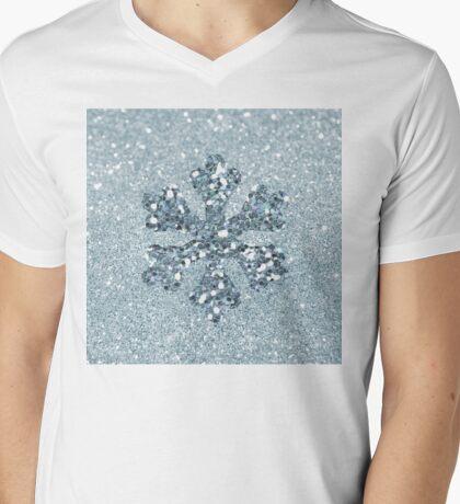 Aquamarine Faux Glitter Snowflake Mens V-Neck T-Shirt