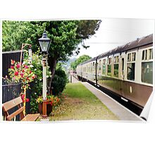 Train at Dunster Station. Poster