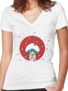 Snow Miku - Strawberry Kimono Women's Fitted V-Neck T-Shirt