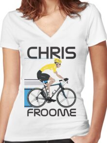 Chris Froome Yellow Jersey Women's Fitted V-Neck T-Shirt