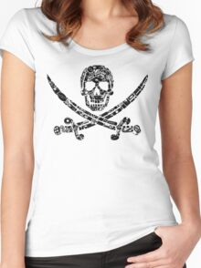 Pirate Service Announcement - Black Women's Fitted Scoop T-Shirt
