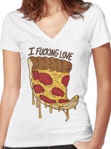 I Love Pizza Women's Fitted V-Neck T-Shirt
