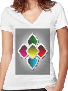 Colorful Arabic Style Design Women's Fitted V-Neck T-Shirt
