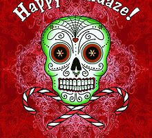 Skull and Candy Cane by Tammy Wetzel