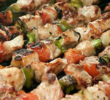 Pork and Vegetable Souvlaki on Grill by GysWorks