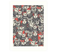 sweater mice coral red Art Print