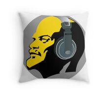Lenin with Headphones Throw Pillow