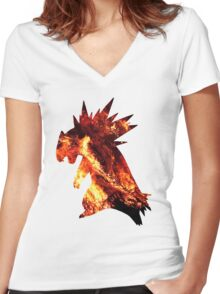 Typholsion used inferno Women's Fitted V-Neck T-Shirt