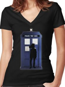 Doctor Horse Women's Fitted V-Neck T-Shirt