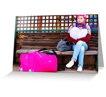pink luggage Greeting Card