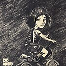 Crazy cat girl biking by sandwoman