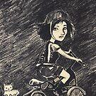 Crazy cat girl biking by Ida Jokela