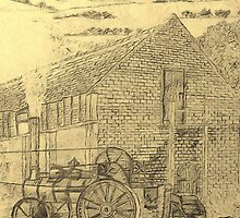 A sepia image of my pencil drawing of Steam Threshing in Yorkshire, England by Dennis Melling