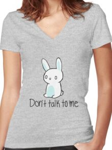 Antisocial bunny Women's Fitted V-Neck T-Shirt