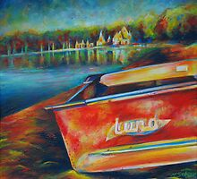Lund boat on Lake Harriet. by Heather Schuer