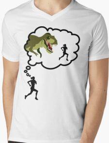 I Run Because... Dinosaurs. Mens V-Neck T-Shirt