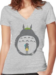 Totoro Silhouette Women's Fitted V-Neck T-Shirt