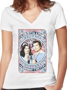 Conway Twitty, Loretta Lynn. Country Music. Nashville Women's Fitted V-Neck T-Shirt