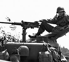 Reclining on a Sherman turret by Steve Churchill