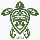 Green Tribal Turtle / Maui by Susan R. Wacker