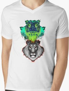Tigers And Lions In Colour Mens V-Neck T-Shirt