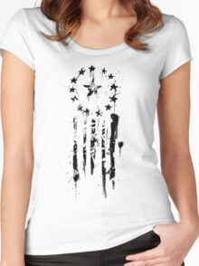 Old World Flag- Black Women's Fitted Scoop T-Shirt