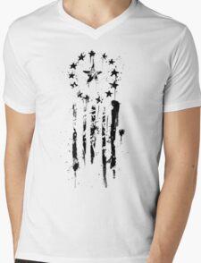 Old World Flag- Black Mens V-Neck T-Shirt