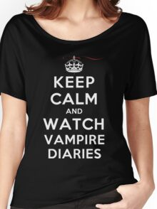 Keep Calm and Watch Vampire Diaries (DS) Women's Relaxed Fit T-Shirt