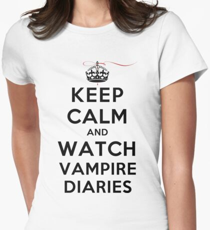Keep Calm and Watch Vampire Diaries (LS) Womens Fitted T-Shirt