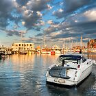 Boston Harbor Sunset - Golden Light on the Marina by Mark Tisdale