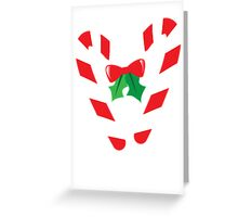 Candy canes candy for Christmas with a bow Greeting Card