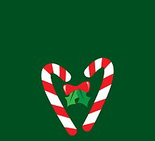 Candy canes candy for Christmas with a bow by jazzydevil