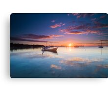 The Boat by the Docks - Belizean sunset Canvas Print