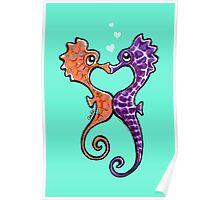 Seahorse Bubble Kisses Poster