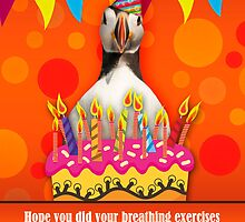 Fun Puffin Birthday Card With Birthday Cake And Candles by Moonlake