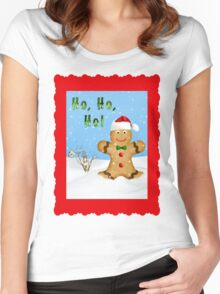 Happy Gingerbread Man in Snow Women's Fitted Scoop T-Shirt