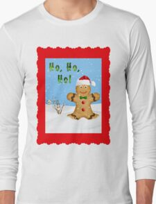 Happy Gingerbread Man in Snow Long Sleeve T-Shirt